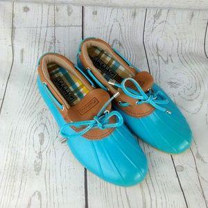 Sperry Blue Duck Short Rain Boots 6.5